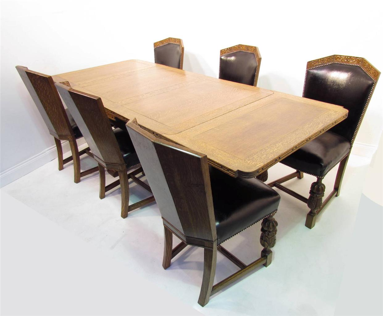 a good antique style solid oak refectory dining table and