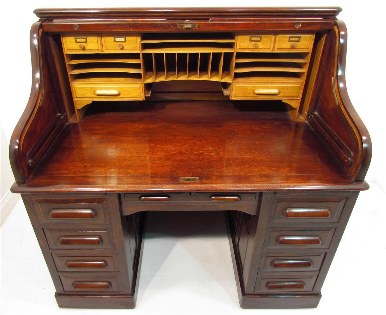 A Good Large Antique Mahogany Roll Top Desk C 1910 Ebay