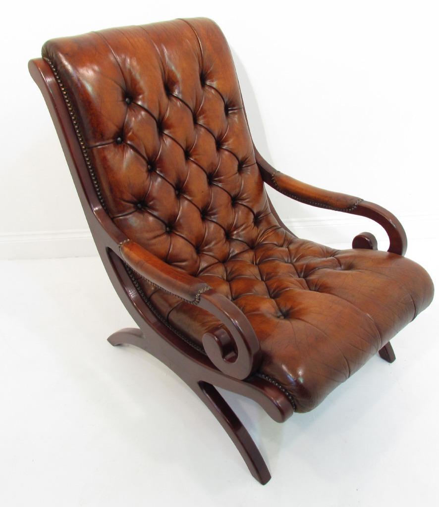 Antique slipper chair - A Beauitful Antique Style Slipper Chair Chesterfield Armchair Chestnut Brown