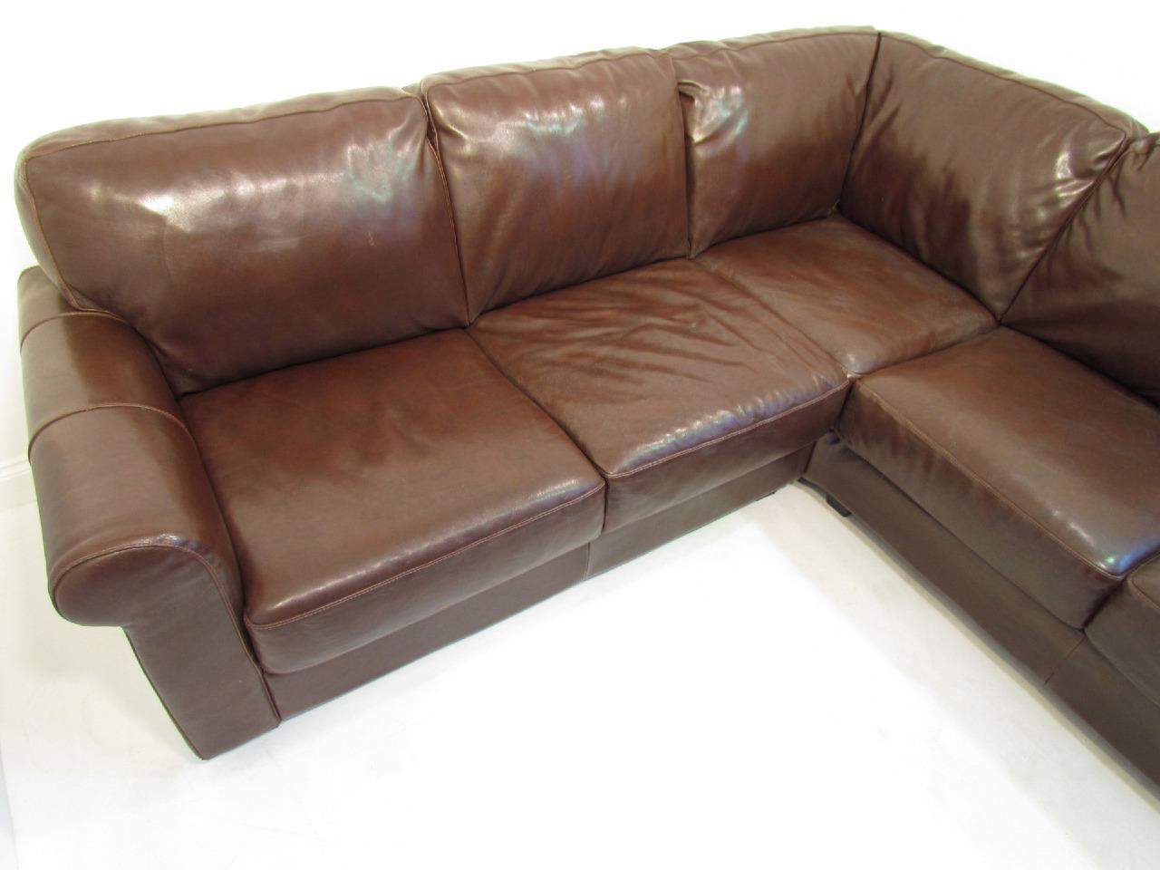 a large brown premium leather corner sofa very comfy. Black Bedroom Furniture Sets. Home Design Ideas