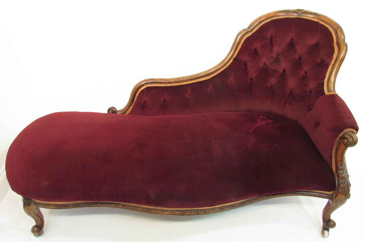 An good antique 19th c walnut sofa chaise loungue for Antique chaise lounge ebay