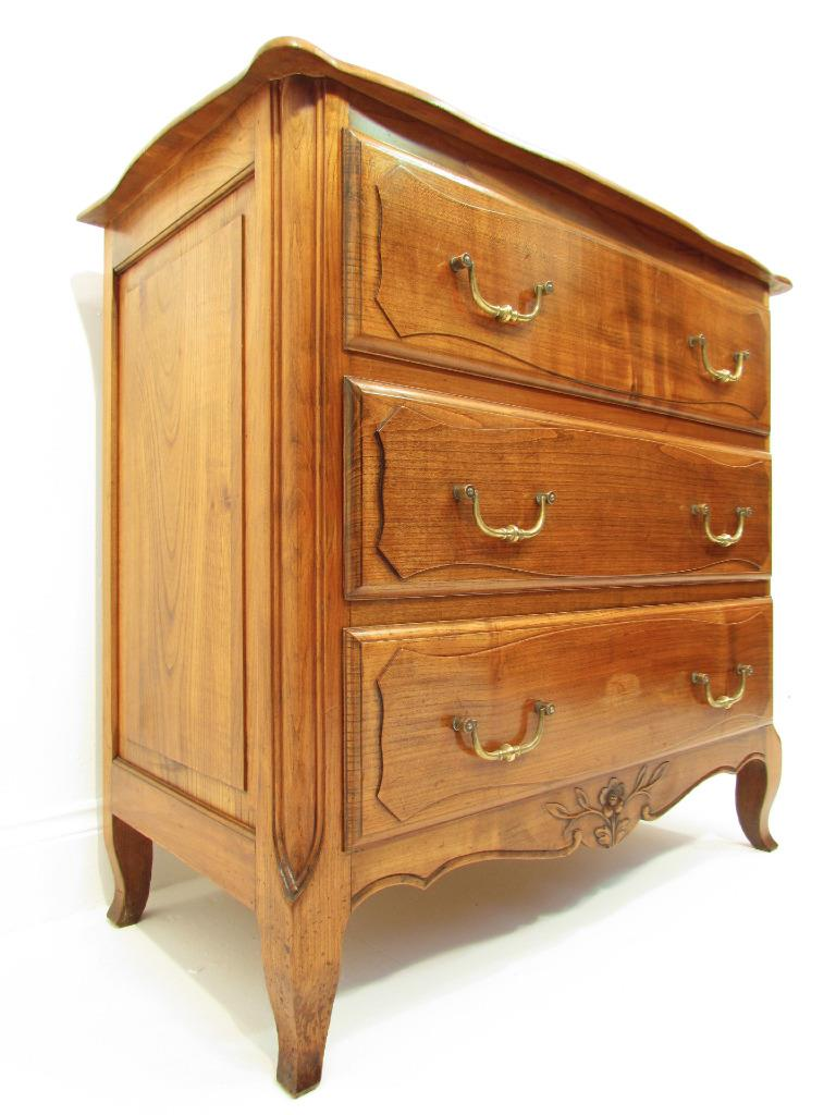 A good antique french solid cherry wood small chest of