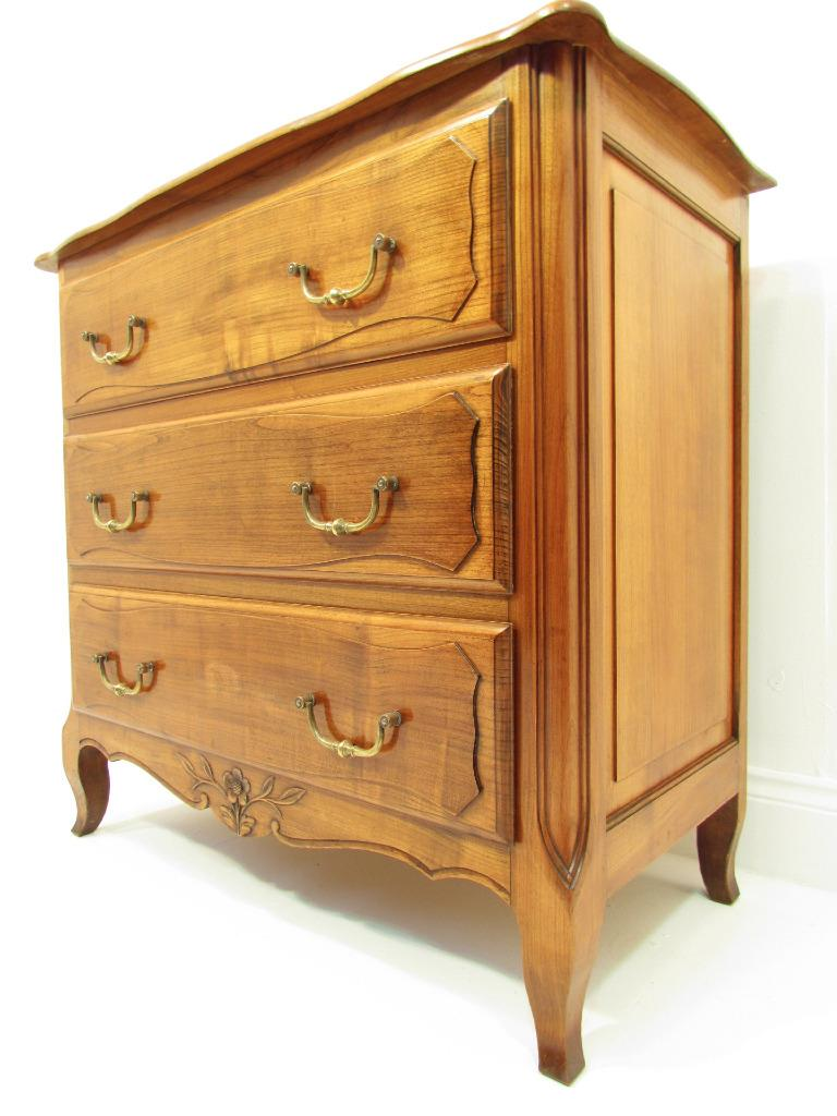 Cherry Wood Chest ~ A good antique french solid cherry wood small chest of