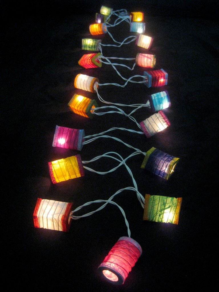 Paper Lantern String Lights Nz : 20 MULTICOLOURED Battery Operated Mini Chinese LED String Paper Lanterns Lights eBay