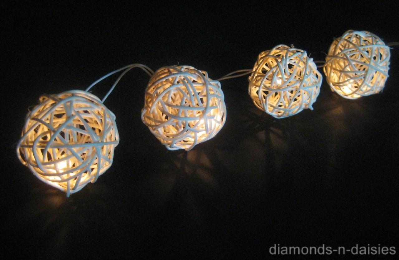 20 WHITE Battery Operated Wicker Rattan Ball LED String Fairy Lights Wedding NEW eBay
