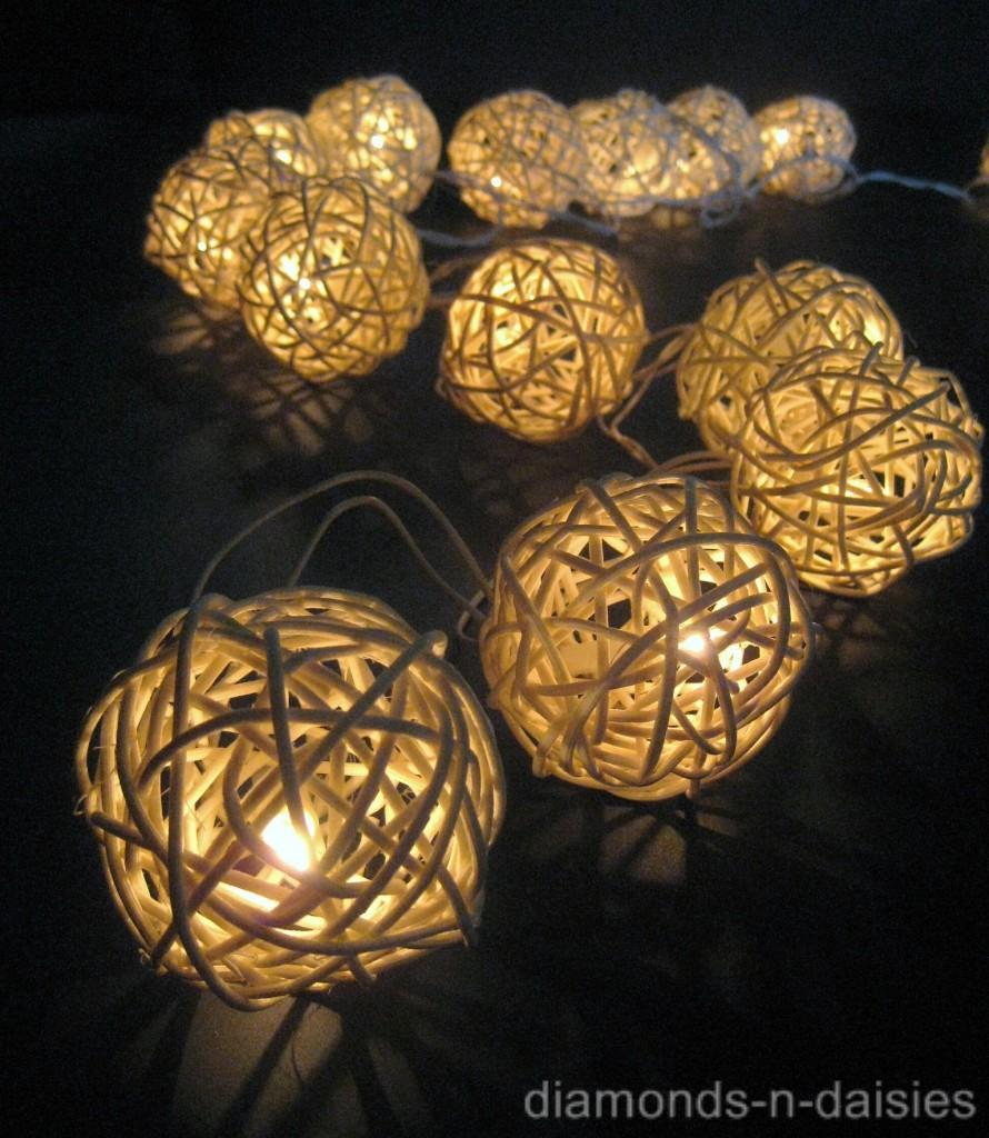 20 WARM WHITE Wicker Rattan Ball LED String Fairy Lights Lanterns Wedding Party eBay