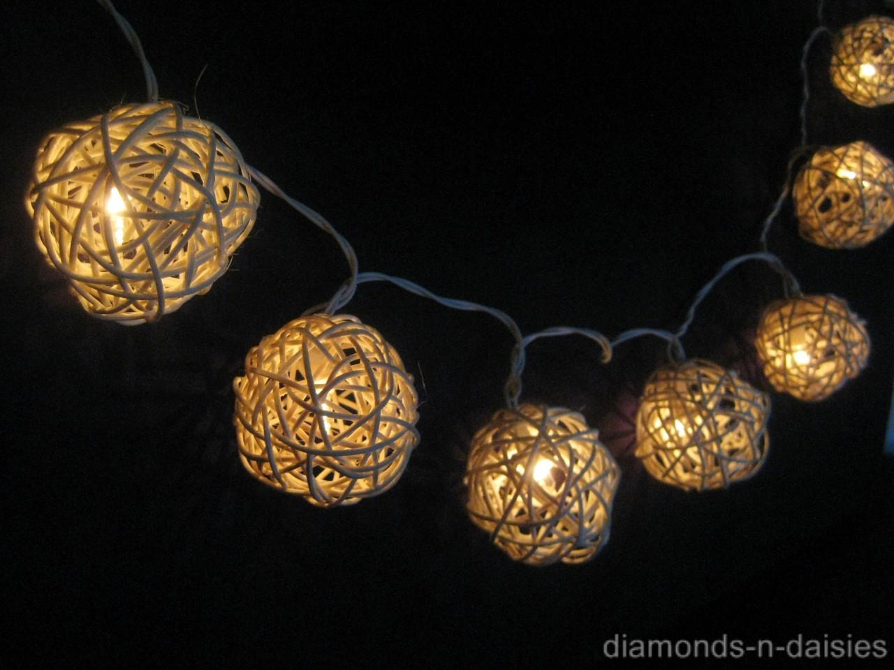 20 WARM WHITE Wicker Rattan Ball LED String Fairy Lights Lanterns Wedding Party eBay