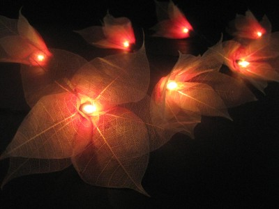 Red white star flower lanterns string fairy lights ebay