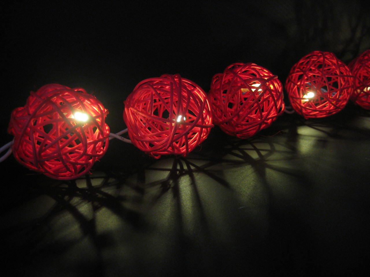 20 RED Wicker Rattan Ball BATTERY Operated LED String Fairy Lights Christmas NEW eBay