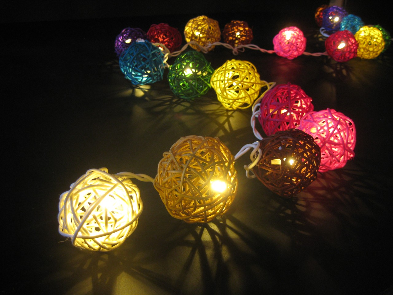 MULTICOLOUR WICKER RATTAN BALL LED STRING FAIRY LIGHTS Home Party Night Light eBay