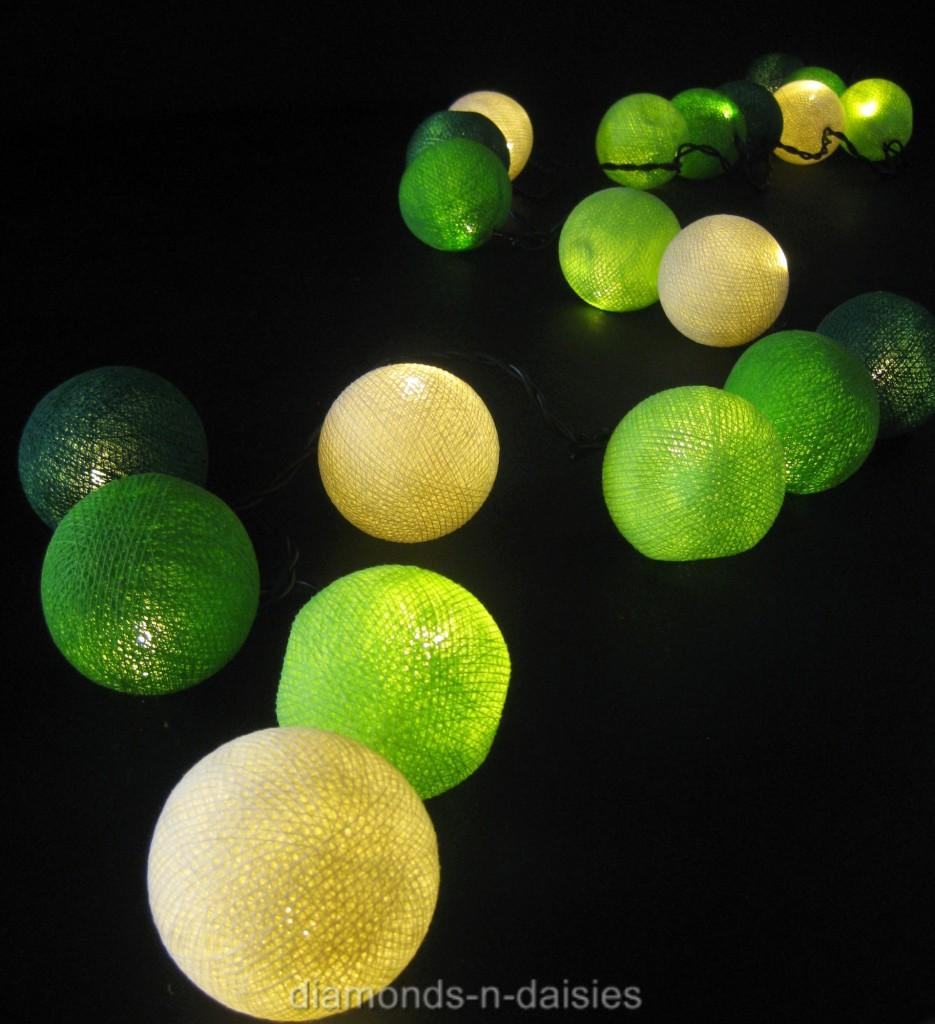 Cotton Ball String Lights Battery : 20 GREEN WHITE MIX Battery Operated Cotton Ball LED String Fairy Lights Party eBay
