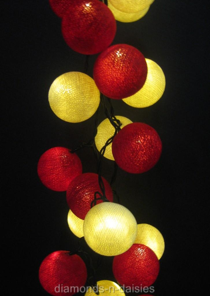 String Of Red Christmas Lights : RED & WHITE COTTON BALL STRING FAIRY LIGHTS - Christmas eBay