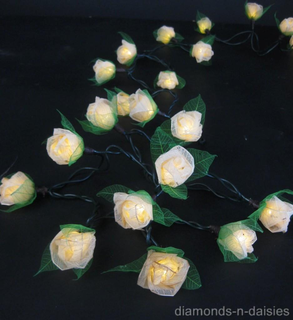 35 CREAM Mini Rose Flower LED String Fairy Lights with Brown Leaves Wedding eBay
