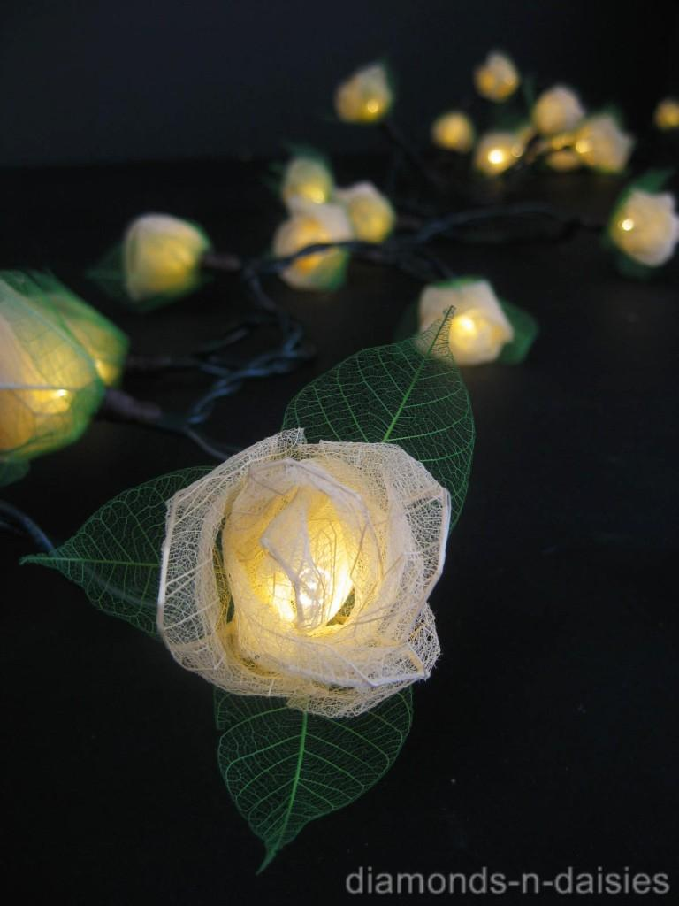 35 CREAM Mini Rose Flower LED String Fairy Lights Cream Wedding Warm Lighting eBay