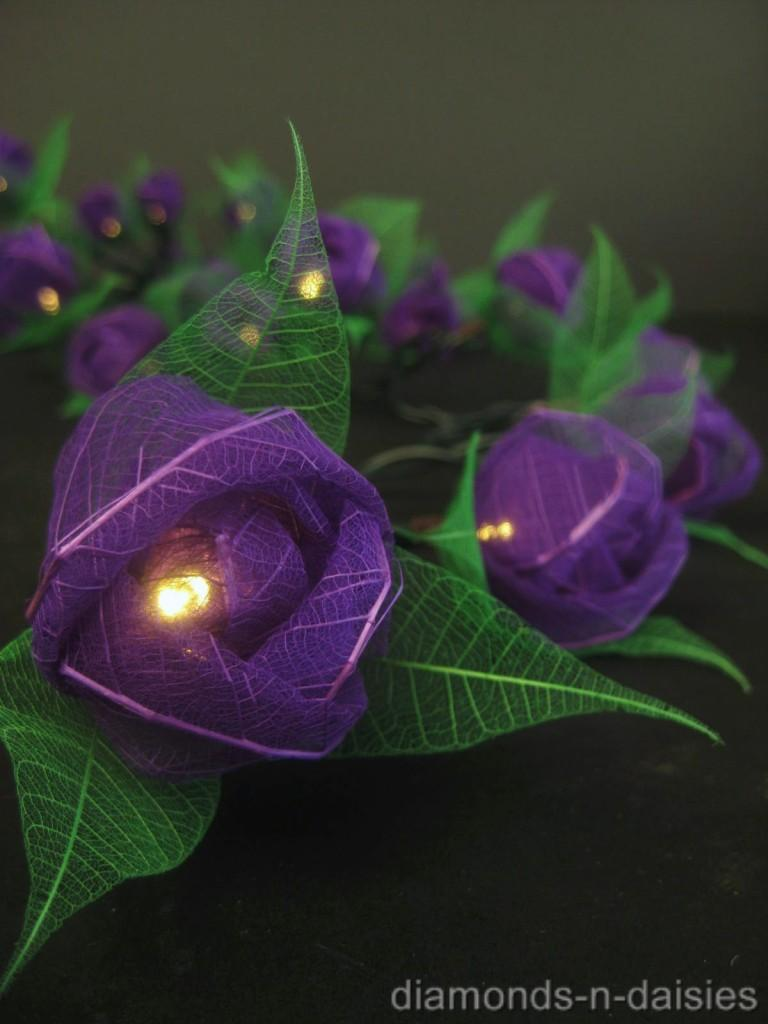 Purple Fairy String Lights : 35 PURPLE Mini Rose Flower LED String Fairy Lights Lanterns Nightlight Childrens eBay