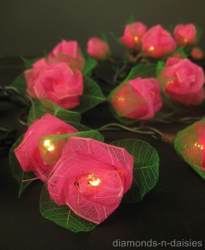 20 Mini Rose Flower BATTERY OPERATED String LED Fairy Lights - 6 Colours NEW eBay