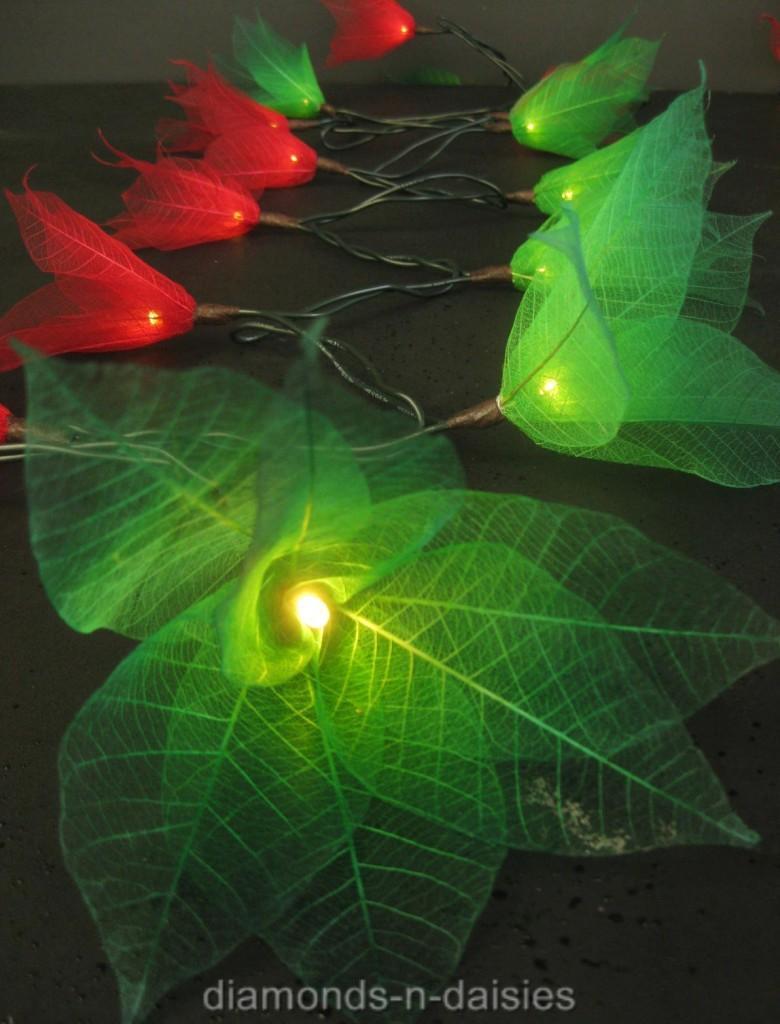 Floral Lantern String Lights : RED & GREEN STAR FLOWER LANTERN LED STRING FAIRY LIGHTS eBay