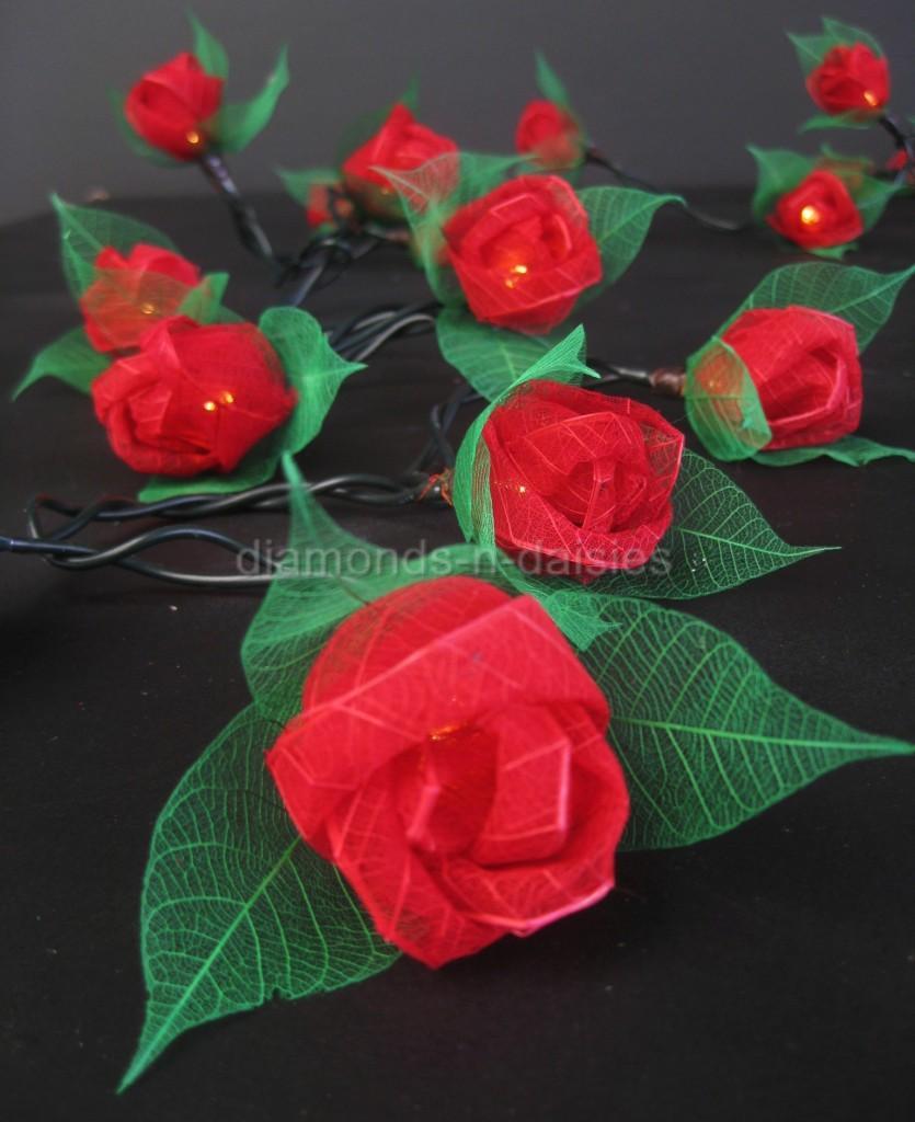 Red Flower String Lights : 35 RED Mini Rose Flower LED String Fairy Lights - Valentines Gift Home Christmas eBay