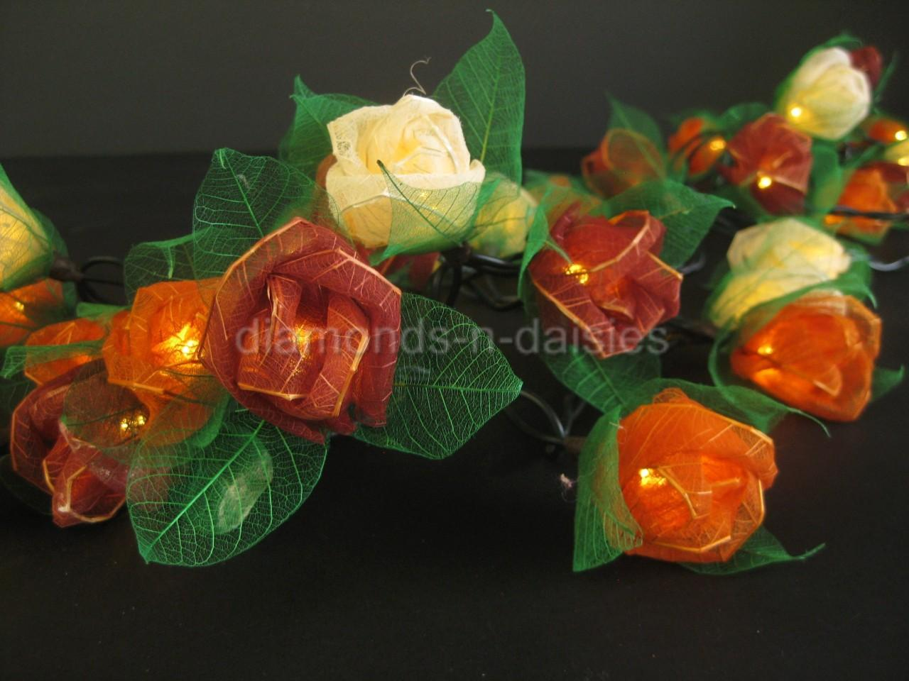 35-EARTHY-MIX-Mini-Rose-Flower-LED-String-Fairy-Lights-Lanterns-Home-Party