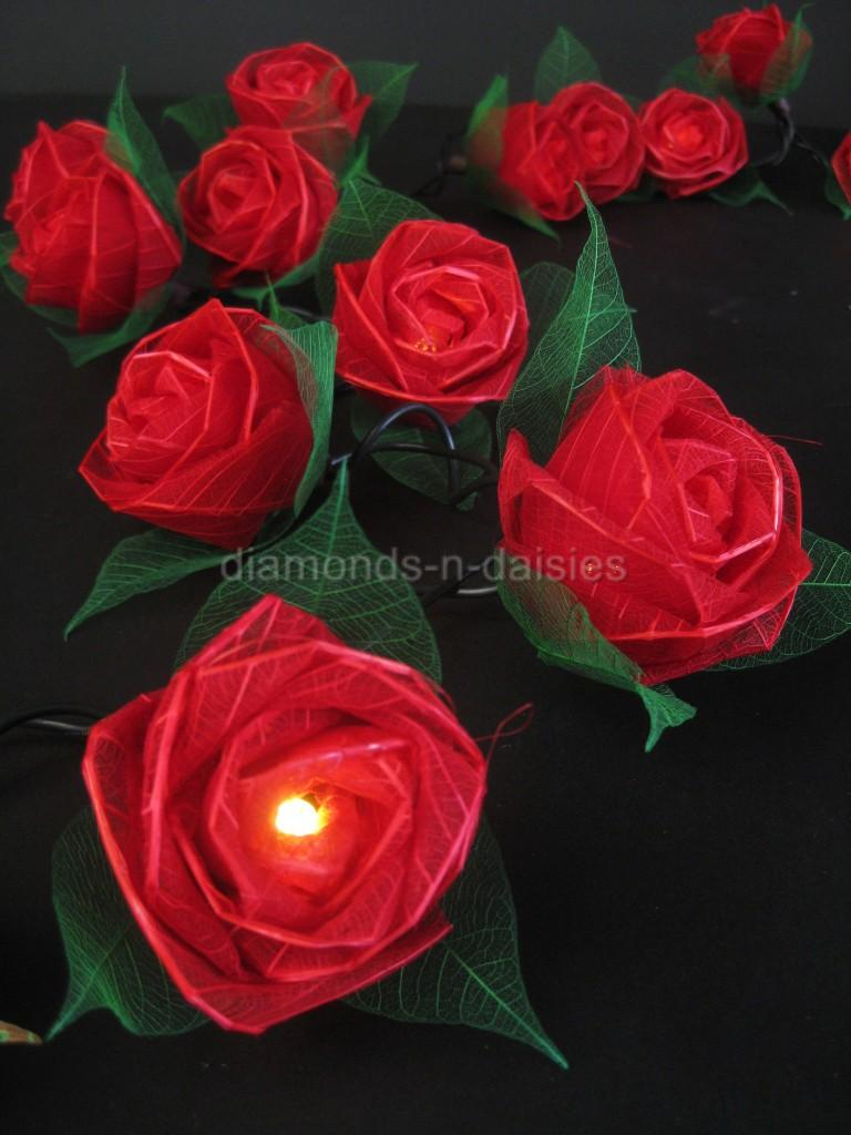 Led Rose String Lights : RED LARGE ROSE NATURAL FLOWER LED STRING FAIRY LIGHTS Valentines/Gift/Wedding eBay