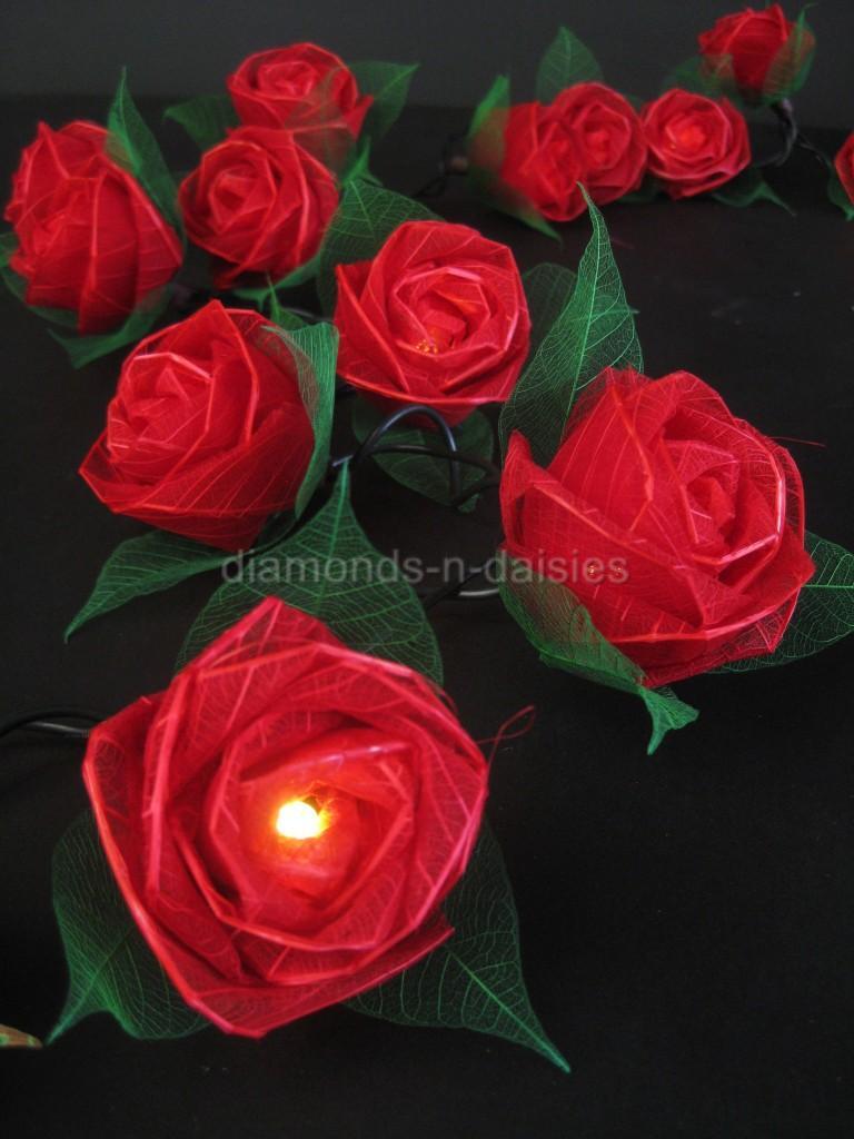 Red Flower String Lights : RED LARGE ROSE NATURAL FLOWER LED STRING FAIRY LIGHTS Valentines/Gift/Wedding eBay