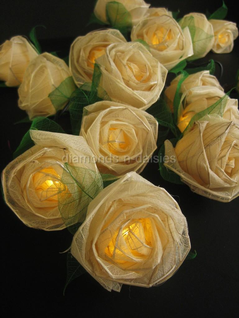 Led Rose String Lights : 20 CREAM Battery Operated Large Rose Flower LED String Fairy Lights Wedding Mood
