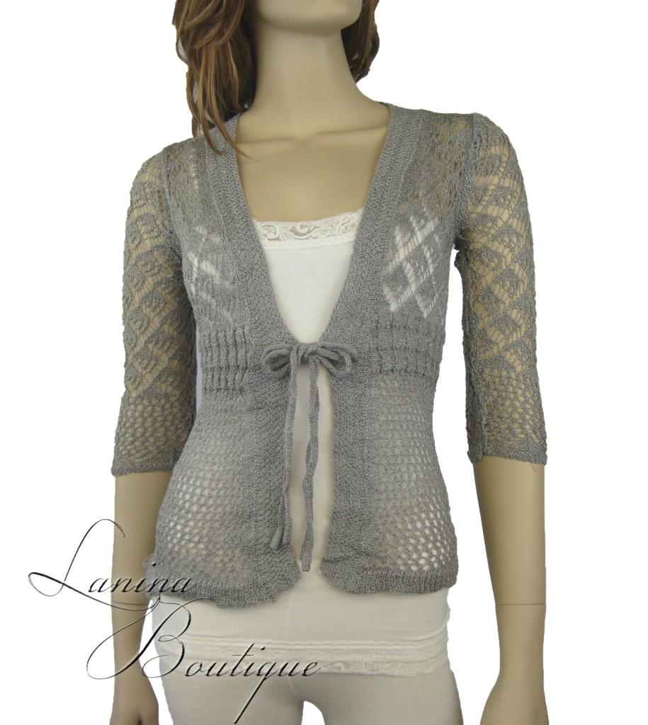 Ladies Crochet Lace Cardigan Long Sleeved Knit Top Jacket Jumper Bolero 6-10 NEW