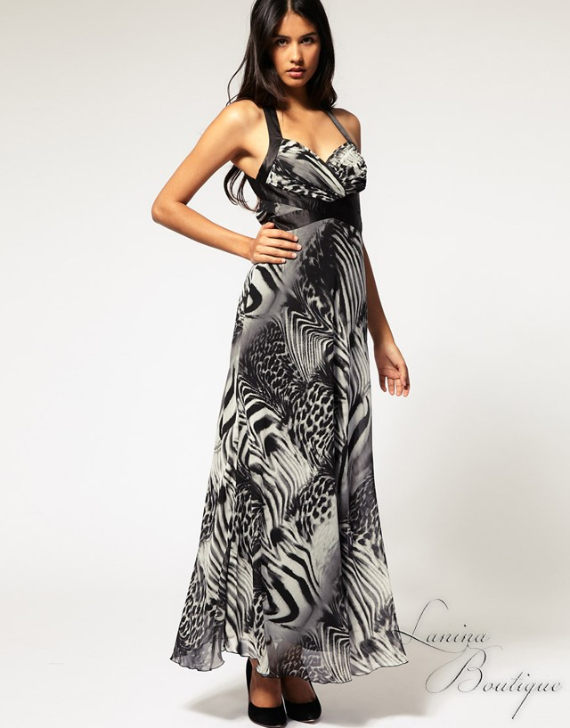 LIPSY-By-ASOS-Animal-Print-Maxi-Dress-Sz-Aus-8-S-Cocktail-Party-Evening