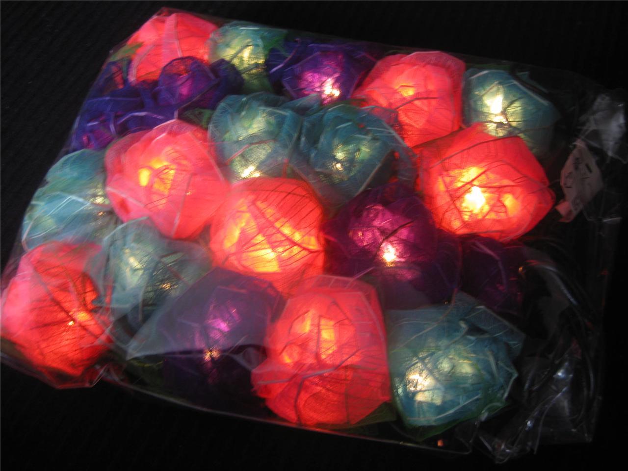 Purple Blue String Lights : Purple Blue Pink Large Rose Flower Natural LED String Fairy Lights Kids Gift eBay