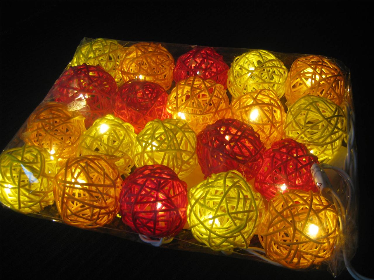 20 SUNSET Wicker Rattan Ball BATTERY Operated LED String Fairy Lights Red Orange eBay
