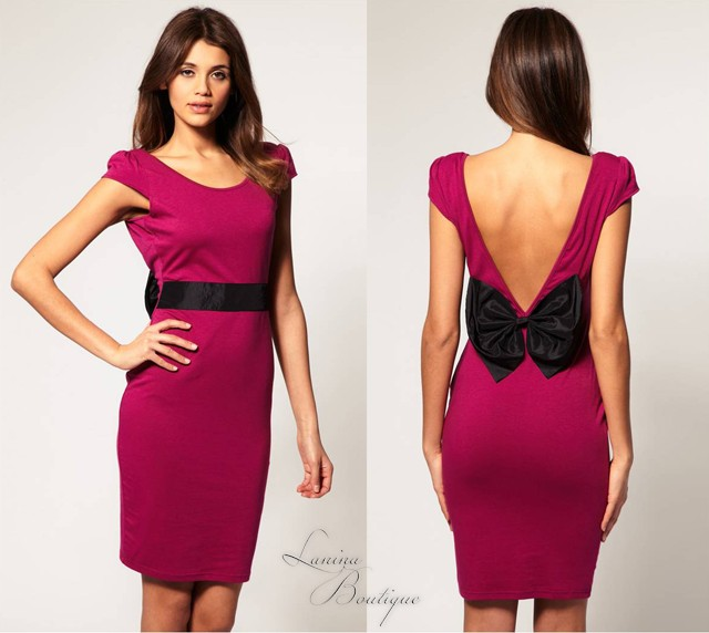 ASOS-Paprika-Bow-Back-Midi-Bodycon-Dress-Sz-6-8-10-12-14-Party-Evening-Formal