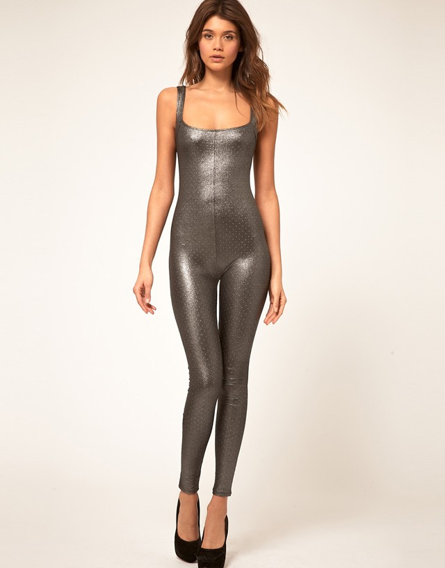 ASOS-Silver-Glitter-Metallic-Unitard-Bodysuit-Sz-8-10-12-14-Fancy-Dress-Costume