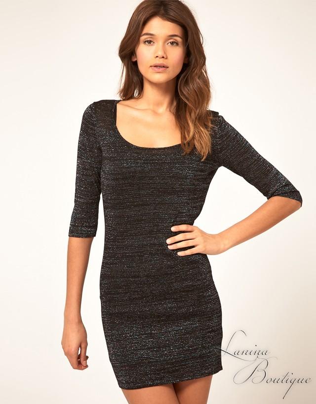 ASOS-Black-Metallic-3-4-Sleeve-Bodycon-Dress-Sz-10-12-14-16-Great-With-Tights