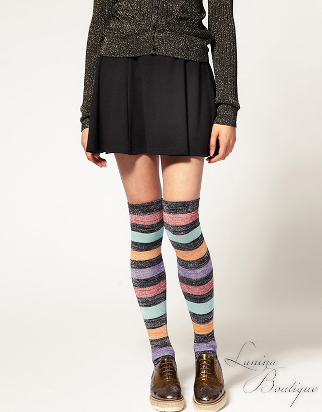 ASOS-Striped-Metallic-Over-the-Knee-Socks-BNWT-Ladies-Winter-Warm-Leg-Warmers