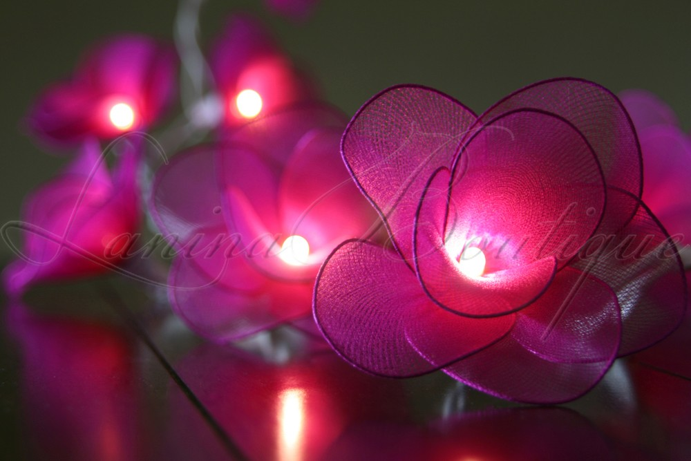 20 DARK PINK Nylon Rose Flower BATTERY Operated LED String Fairy Lights Wedding eBay