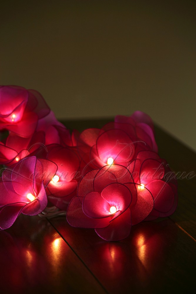 Pink String Lights Battery Operated : 20 DARK PINK Nylon Rose Flower BATTERY Operated LED String Fairy Lights Wedding eBay