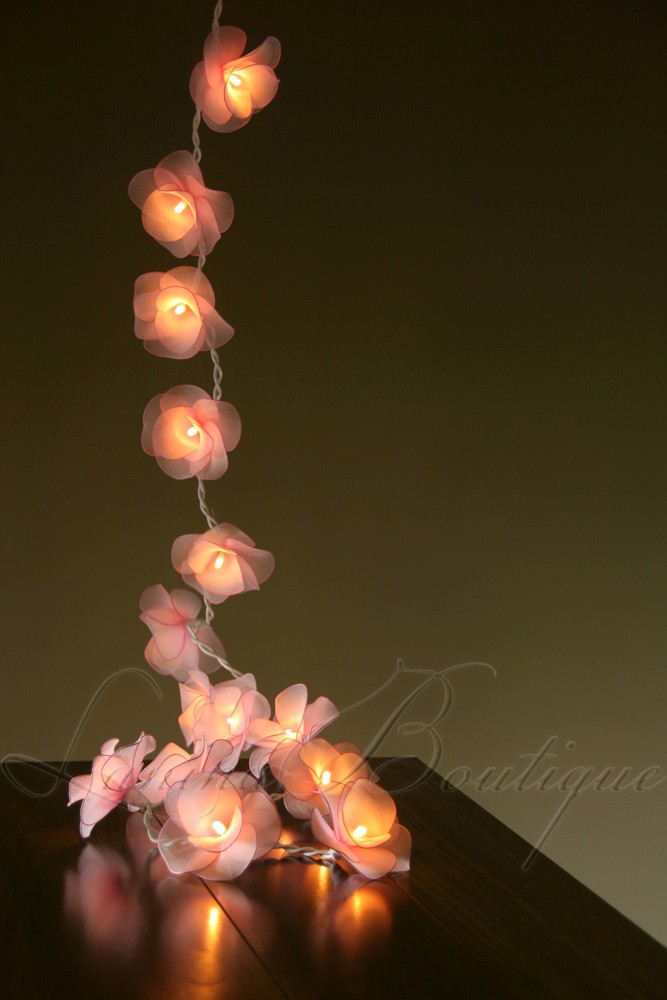 Led Rose String Lights : 20 LIGHT PINK Nylon Rose Flower LED String Fairy Lights Lantern NEW Gift Wedding eBay