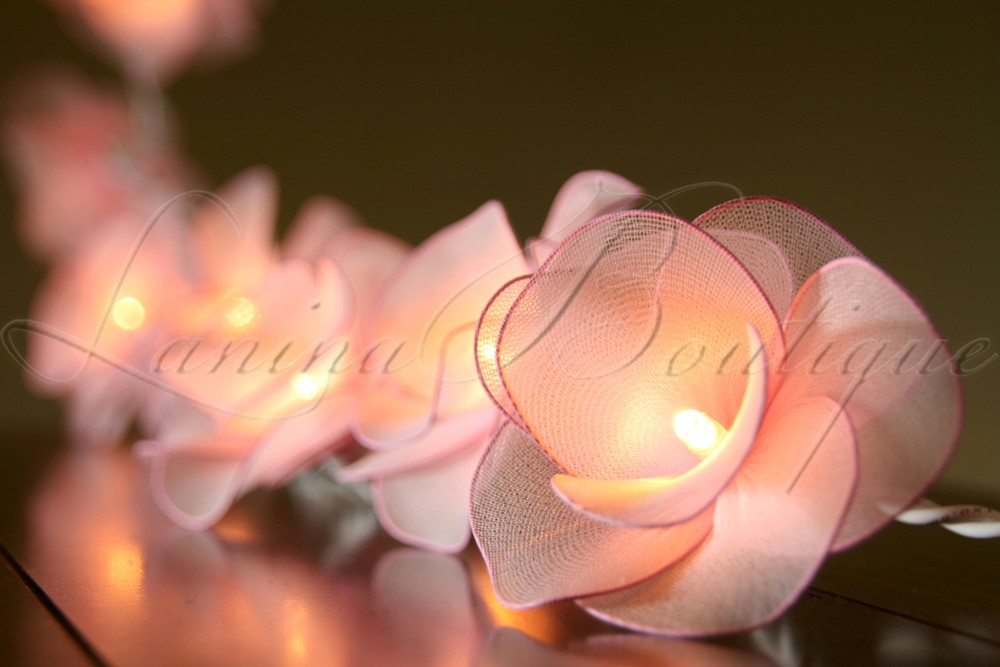 Led Rose String Lights : 20 LIGHT PINK Nylon Rose Flower BATTERY Operated LED String Fairy Lights Wedding eBay