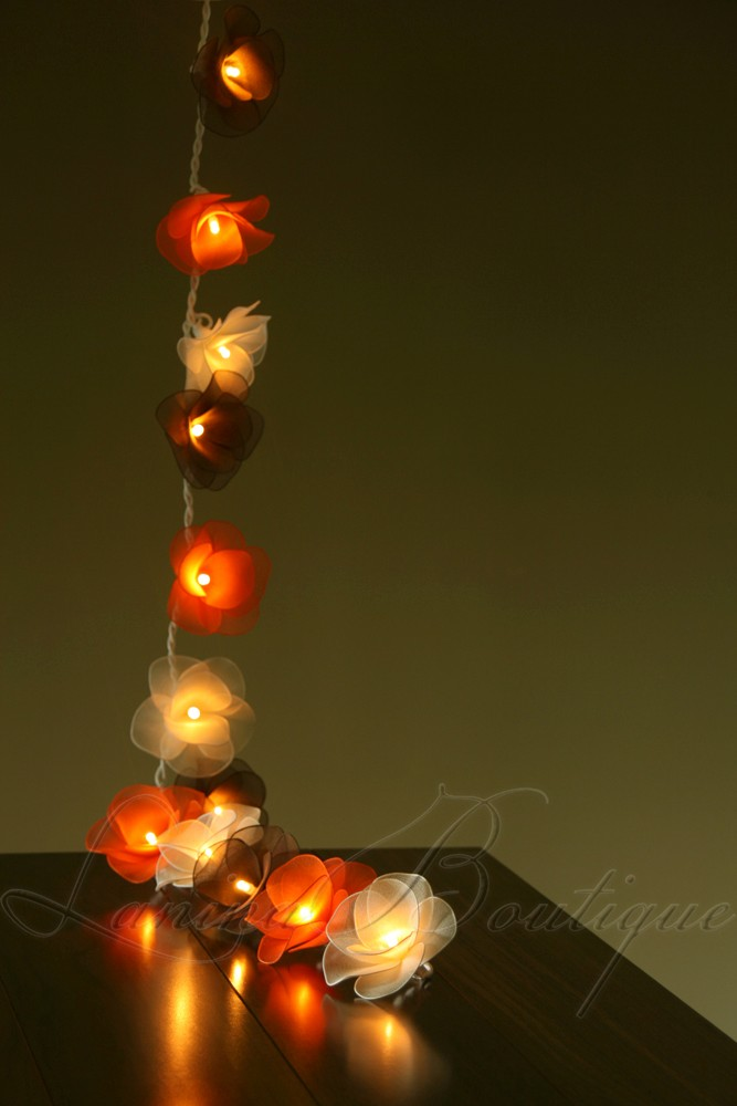 Led String Lights Orange : 20 WHITE, BROWN & ORANGE Nylon Rose Flower LED String Fairy Lights Lanterns NEW