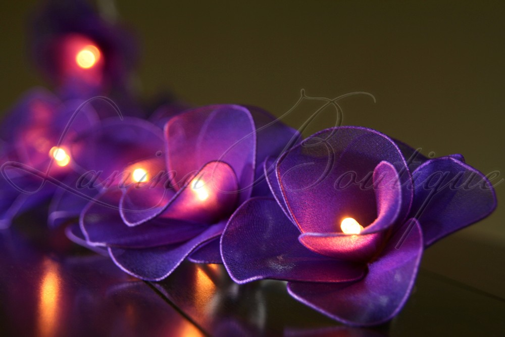20 PURPLE Nylon Rose Flower LED String Fairy Lights Lanterns Christmas Lighting eBay