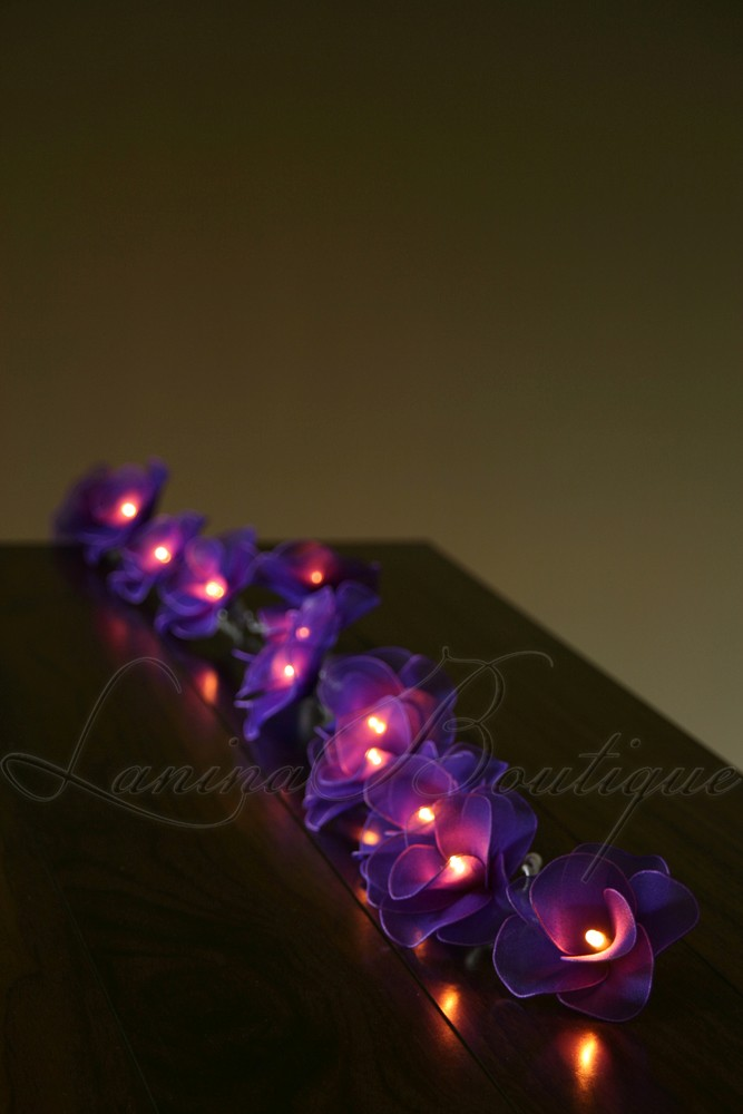 Led Rose String Lights : 20 PURPLE Nylon Rose Flower BATTERY Powered LED String Fairy Lights Lanterns NEW eBay