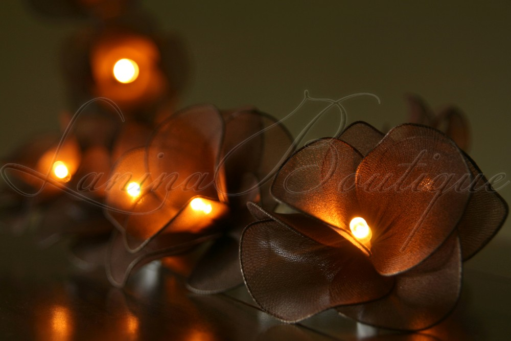 Fairy String Lights Plug In : 20 or 35 LED Nylon Rose Flower Plug In String Fairy Lights Floral Wedding Party eBay