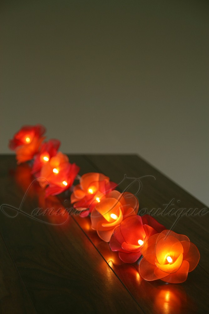 Led String Lights Orange : 20 RED Orange Nylon Rose Flower LED String Fairy Lights Lanterns NEW Christmas eBay