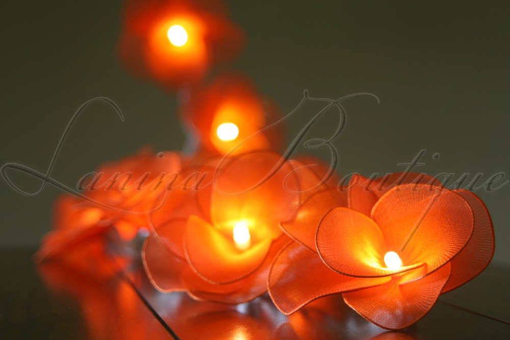 Led String Lights Orange : 20 ORANGE Nylon Rose Flower LED String Fairy Lights Lanterns Lighting Lamps NEW eBay