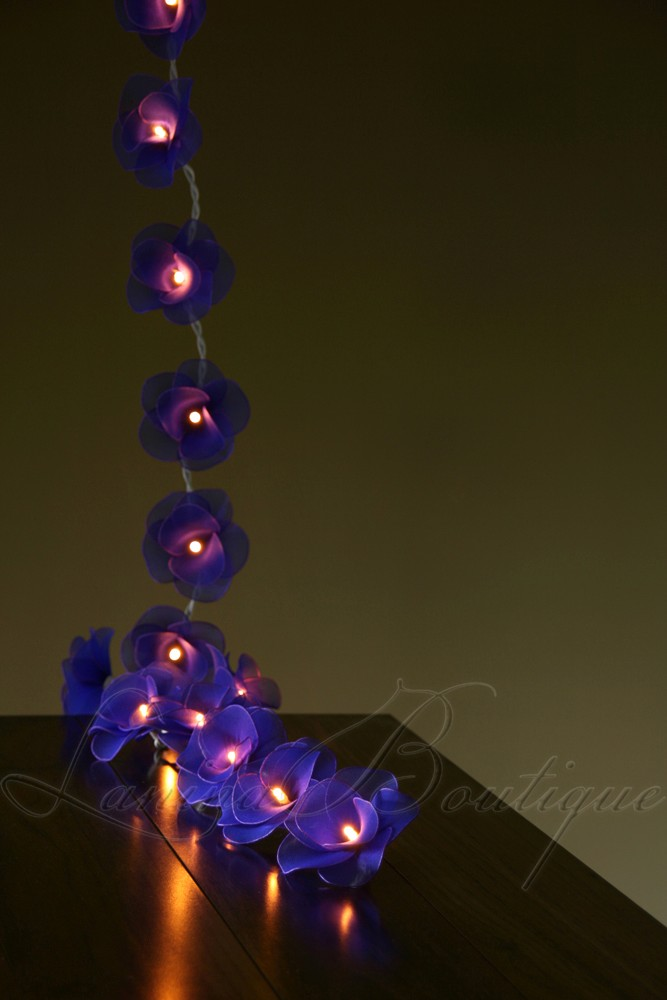 Led Rose String Lights : 20 BLUE Nylon Rose Flower LED String Fairy Lights Lanterns Lamps - Purple NEW