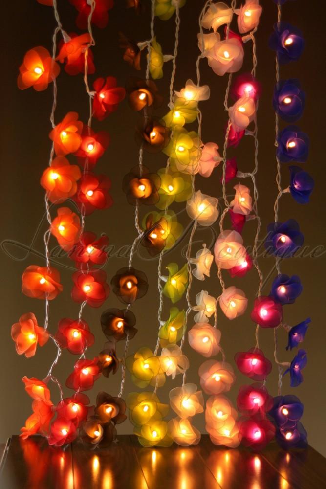 Floral Lantern String Lights : 20 PURPLE Nylon Rose Flower LED String Fairy Lights Lanterns Christmas Lighting eBay