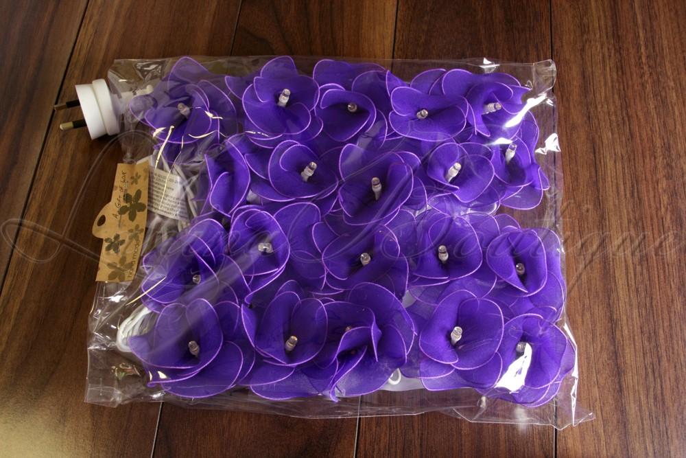 20 Purple Nylon Rose Flower Led String Fairy Lights Lanterns Christmas Lighting Ebay