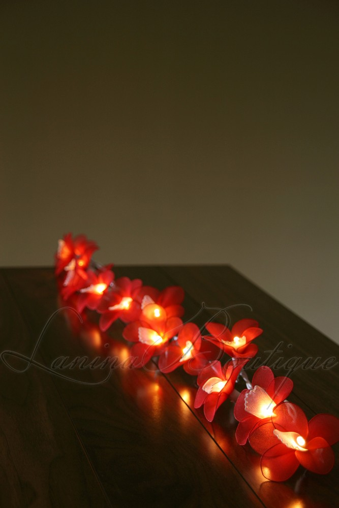 20 Red & White Orchid Flower LED String Fairy Lights BATTERY POWERED or AUS PLUG eBay