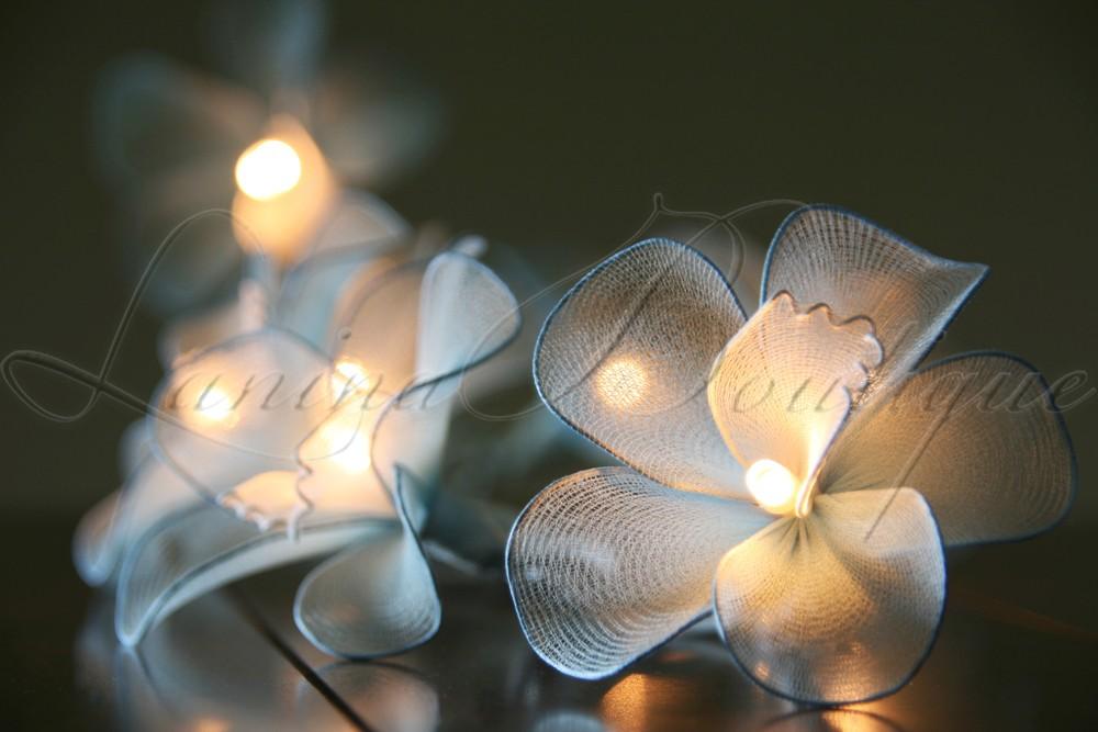 20 or 35 LED Nylon Orchid Flower String Fairy Lights Floral Wedding Decor PlugIn eBay