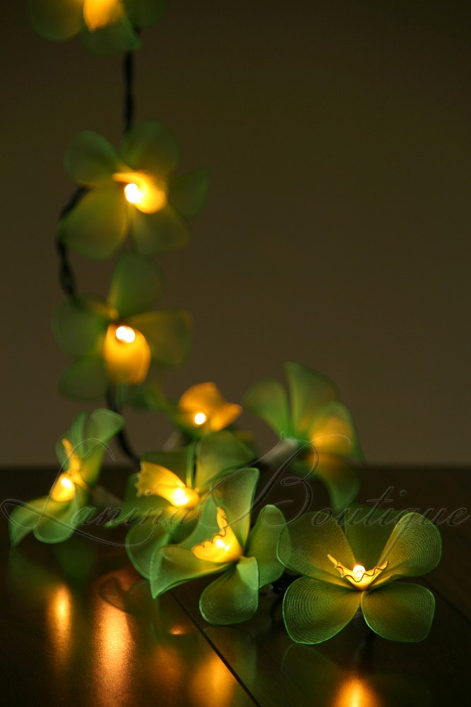Green Flower String Lights : 20 GREEN & YELLOW Orchid Flower LED String Fairy Lights Lanterns Christmas Gift eBay